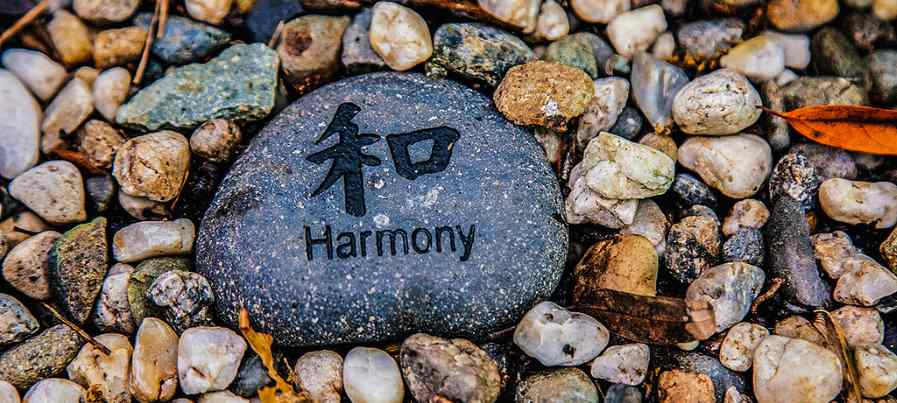 A stone with a harmony engraving welcomes you to Balingit Acupuncture.